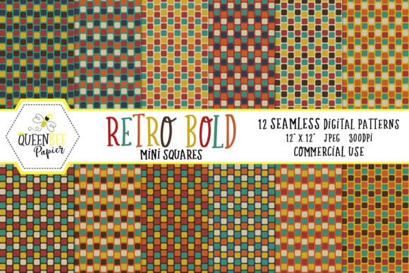 Seamless Retro Mini Squares Digital Paper Graphic Backgrounds By Queen Bee Papier
