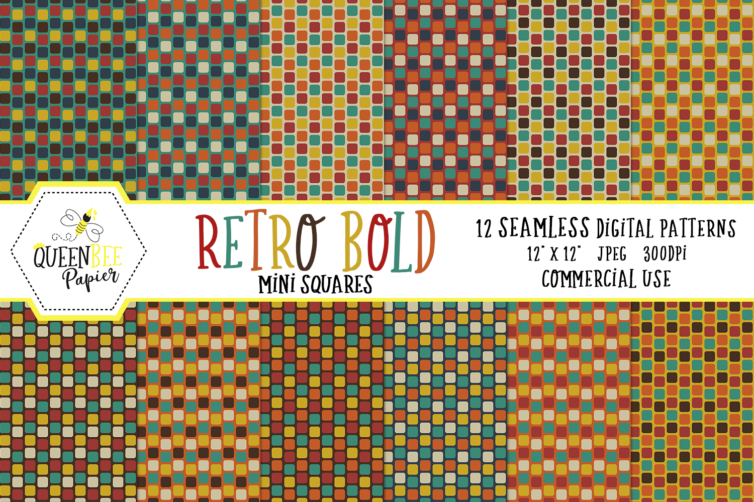 Download Free Seamless Retro Mini Squares Digital Paper Graphic By Queen Bee for Cricut Explore, Silhouette and other cutting machines.