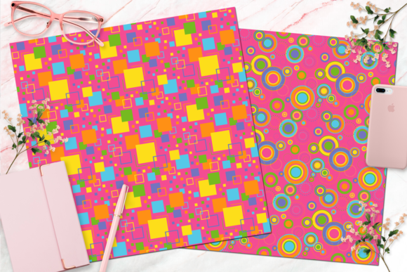 Seamless Retro Rainbow Digital Paper Graphic Backgrounds By Queen Bee Papier - Image 2