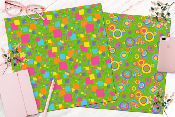 Seamless Retro Rainbow Digital Paper Graphic Backgrounds By Queen Bee Papier - Image 5