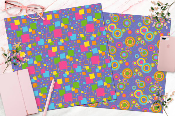 Seamless Retro Rainbow Digital Paper Graphic Backgrounds By Queen Bee Papier - Image 7