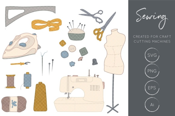 Print on Demand: Sewing Clipart Graphic Illustrations By illuztrate