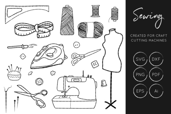 Print on Demand: Sewing SVG Cut Files, Crafters Cut Files, Sewing Clipart Graphic Crafts By illuztrate