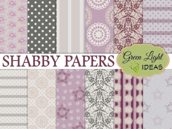 Shabby Digital Papers Graphic Backgrounds By GreenLightIdeas