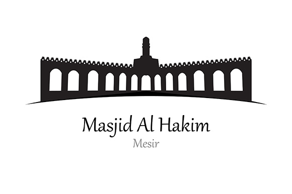 Silhouette of Al Hakim Mosque, Mesir - Vector Illustration Graphic Illustrations By indostudio