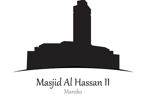 Silhouette of Al Hassan II Mosque, Maroko - Vector Illustration Graphic Illustrations By indostudio