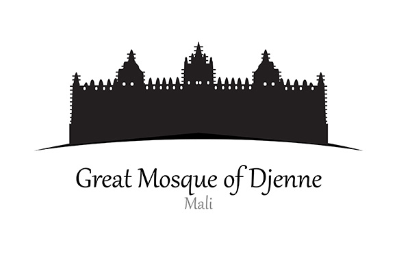Silhouette of Great Mosque of Djenne, Mali - Vector Illustration Graphic Illustrations By indostudio