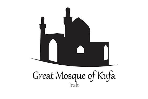 Silhouette of Great Mosque of Kufa, Irak - Vector Illustration Graphic Illustrations By indostudio