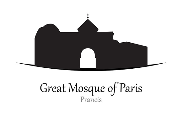 Silhouette of Great Mosque of Paris, Prancis - Vector Illustration Gráfico Ilustraciones Por indostudio