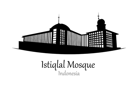 Silhouette of Istiqlal Mosque, Indonesia - Vector Illustration Graphic Illustrations By indostudio