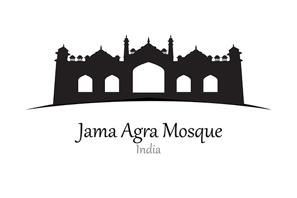 Silhouette of Jama Agra Mosque, India - Vector Illustration Graphic Illustrations By indostudio