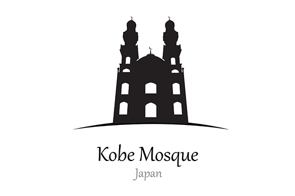 Silhouette of Kobe Mosque, Jepang - Vector Illustration Graphic Illustrations By indostudio