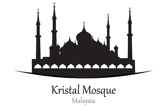 Silhouette of Kristal Mosque, Malaysia - Vector Illustration Graphic Illustrations By indostudio