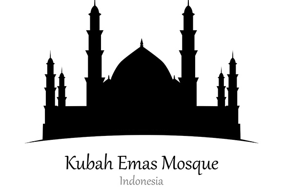 Silhouette of Kubah Emas Mosque, Indonesia - Vector Illustration Graphic Illustrations By indostudio