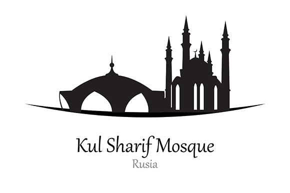 Silhouette of Kul Sharif Mosque, Rusia - Vector Illustration Graphic Illustrations By indostudio