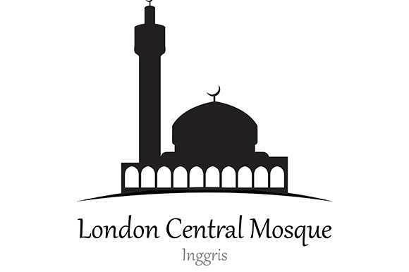 Silhouette of London Central Mosque, Inggris - Vector Illustration Graphic Illustrations By indostudio