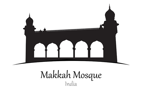 Silhouette of Makkah Mosque, India - Vector Illustration Graphic Illustrations By indostudio