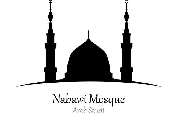 Silhouette of Nabawi Mosque, Arab Saudi - Vector Illustration Graphic Illustrations By indostudio