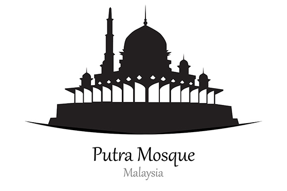 Silhouette of Putra Mosque, Malaysia - Vector Illustration Graphic Illustrations By indostudio