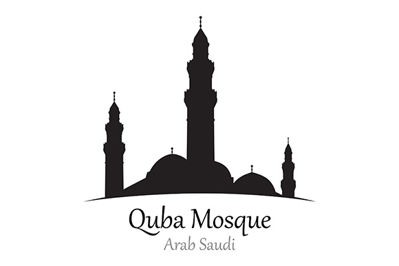 Silhouette of Quba Mosque, Arab Saudi - Vector Illustration-01 Graphic Illustrations By indostudio
