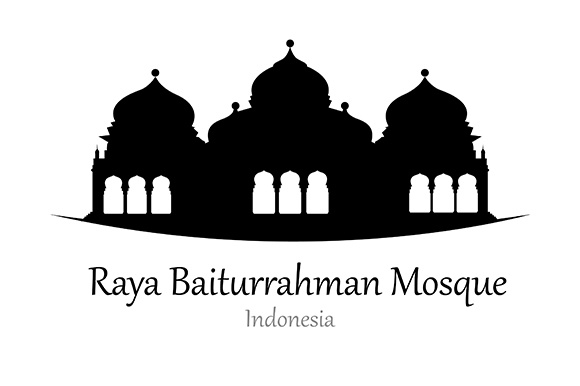 Silhouette of Raya Baiturrahman Mosque, Indonesia - Vector Illustration Graphic Illustrations By indostudio