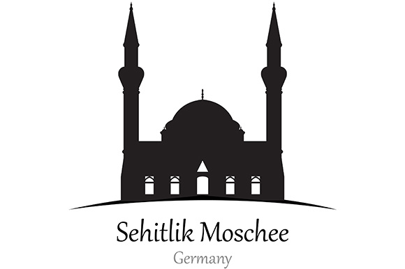 Silhouette of Sehitlik Moschee, Jerman - Vector Illustration Graphic Illustrations By indostudio