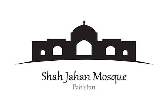 Silhouette of  Shah Jahan Mosque, Pakistan - Vector Illustration Graphic Illustrations By indostudio