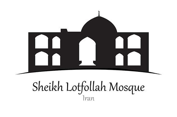 Silhouette of  Sheikh Lotfollah Mosque, Iran - Vector Illustration Graphic Illustrations By indostudio