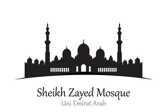 Silhouette of Sheikh Zayed Mosque, Uni Emirat Arab - Vector Illustration Graphic Illustrations By indostudio