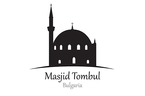 Silhouette of  Tombul Mosque, Bulgaria - Vector Illustration Graphic Illustrations By indostudio