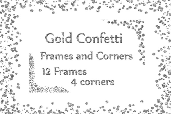 Silver Confetti Frames, SILVER FRAMES, Glitter Frames Silver Glitter Overlay Graphic Crafts By ChiliPapers - Image 1