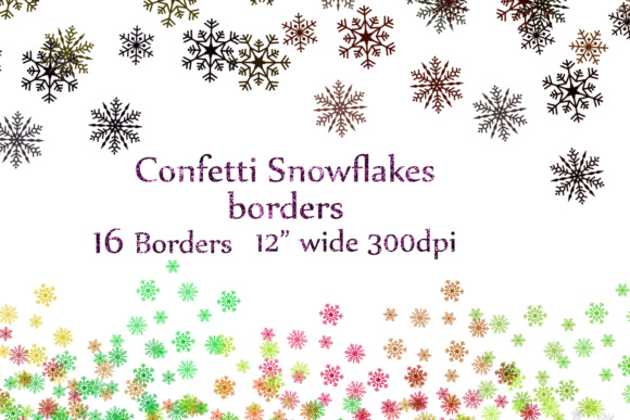 Snowflake Confetti Clipart, CHRISTMAS CONFETTI,Snowflake Overlay Graphic Crafts By ChiliPapers