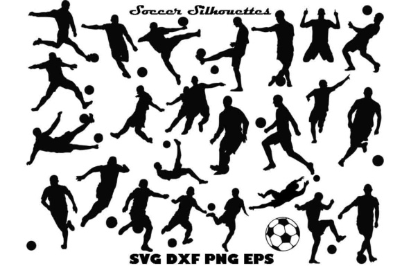 Soccer Silhouette SVG PNG DXF EPS Graphic Illustrations By twelvepapers