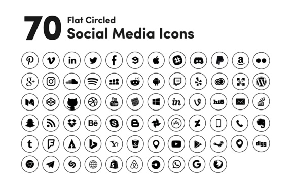 Social Media Icons - Black Circled Graphic Icons By robert4 - Image 1