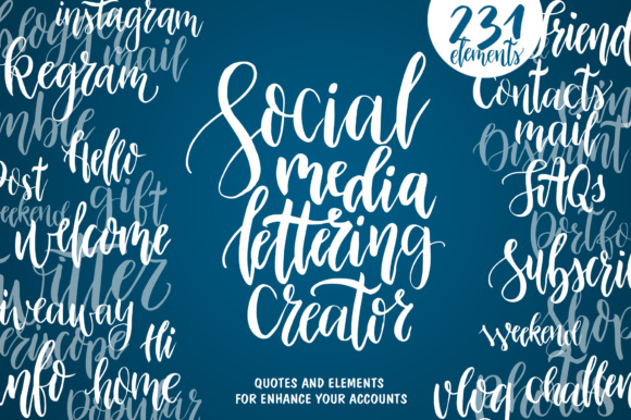 Social Media Lettering Creator Graphic Web Elements By tregubova.jul - Image 4