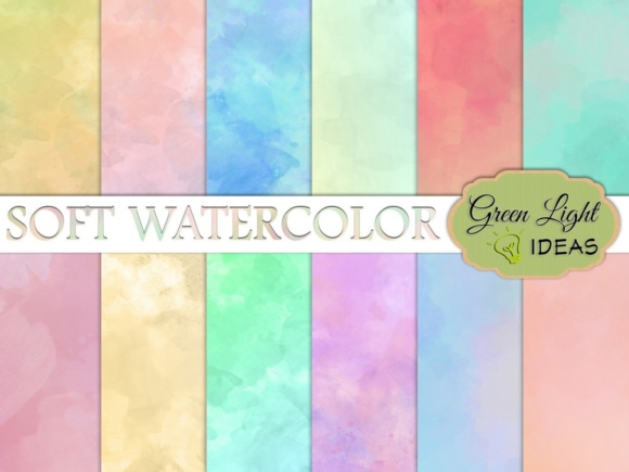 Soft Watercolor Digital Papers Graphic Backgrounds By GreenLightIdeas
