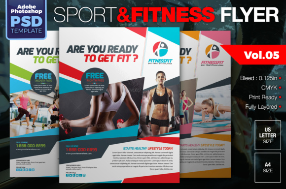 Sport & Fitness Flyer Graphic Print Templates By KitCreativeStudio