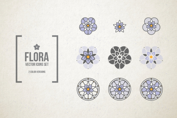 Stained Glass Flowers. Vector Icons Graphic Icons By hellokisdottir