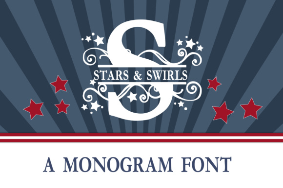 Print on Demand: Stars & Swirls Monogram Banner Display Font By Illustration Ink