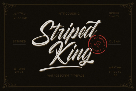 Print on Demand: Striped King Script & Handwritten Font By CreatypeStudio