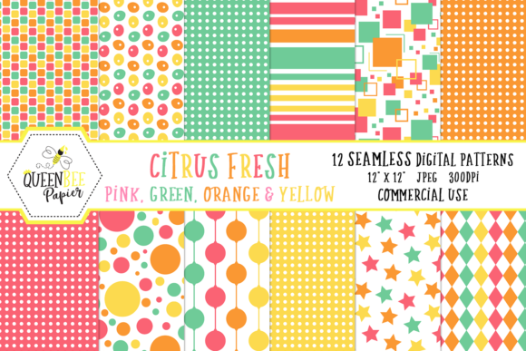 Summer Seamless Digital Paper Graphic Backgrounds By Queen Bee Papier