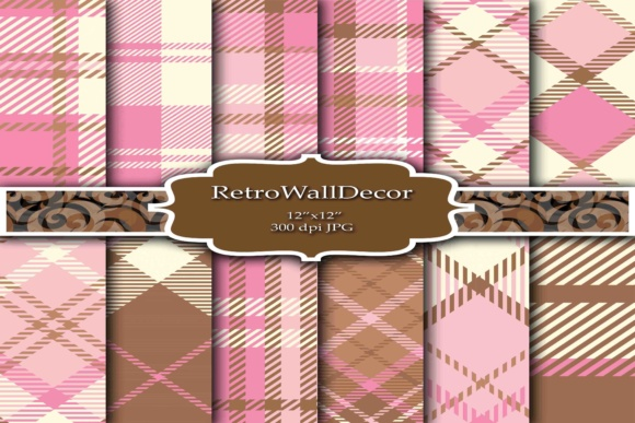 Print on Demand: Tartan Digital Papers Graphic Backgrounds By retrowalldecor