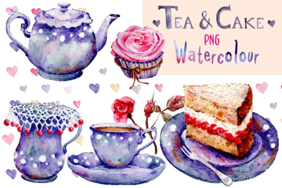 Tea and Cake Watercolor Illustrations Graphic By Jen Digital Art