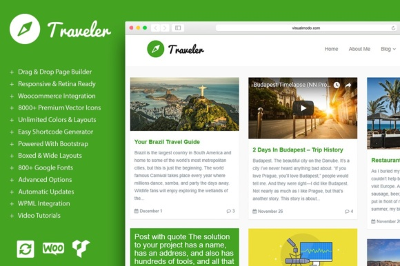 Traveler - Blog WordPress Theme Graphic WordPress By Visualmodo WordPress Themes