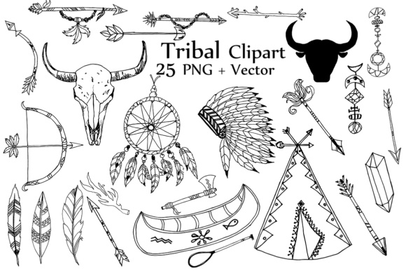 Tribal Clipart, TRIBAL CLIP ART, Doodle Clipart Dream Catcher Clipart Graphic Crafts By ChiliPapers