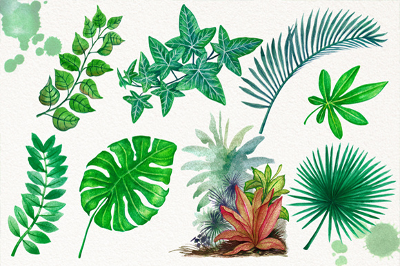 Download Free Tropical Leaves In The Jungle Graphic By Graphobia Creative for Cricut Explore, Silhouette and other cutting machines.