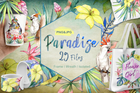 Download Free Tropical Watercolor Flower Set Graphic By Mystocks Creative for Cricut Explore, Silhouette and other cutting machines.