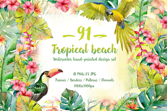 Print on Demand: Tropical Beach PNG Watercolor Set Graphic Illustrations By MyStocks
