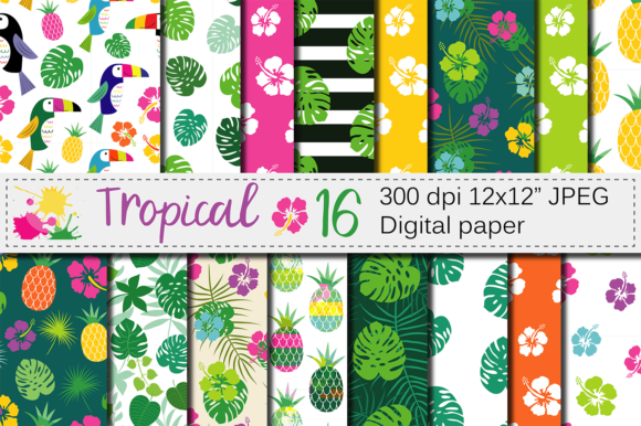 Download Free Tropical Digital Paper With Hibiscus Flower Toucan Pineapple And SVG Cut Files