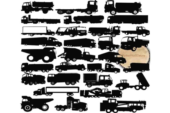Print on Demand: Truck Silhouette SVG File Graphic Illustrations By retrowalldecor